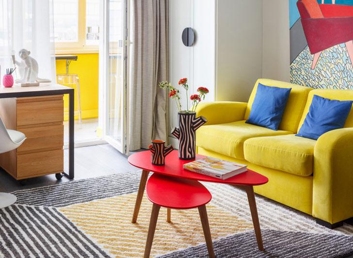 Красочная маленькая квартира для девушки в Москве (34 кв. м)
