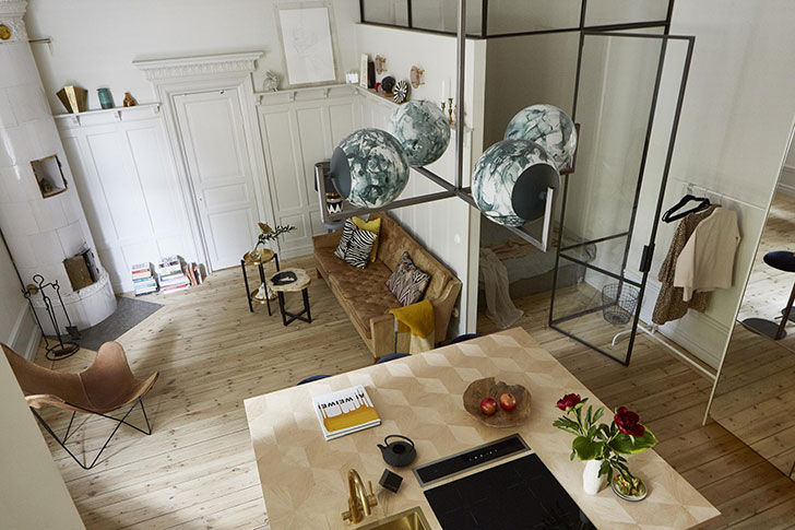 Small Apartment With Gold Kitchen Island In Stockholm 37 Sqm Photos Ideas Design