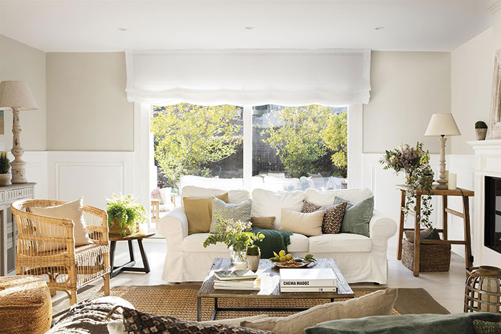 Белый, зеленый, соломенный: интерьер дома в Испании, который дарит умиротворение и радость