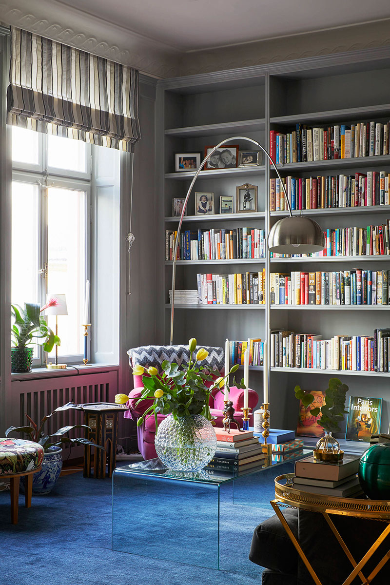 A stylish gray shade became the key in the interior decoration on its background the color decor accents look great excellent design in one of stockholms