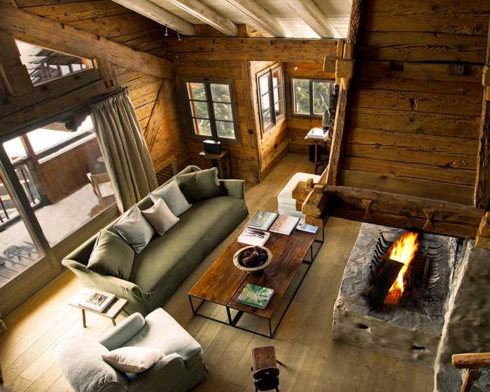 интерьер дома в стиле шале - фото