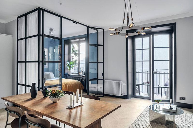 Небольшая квартира в Стокгольме со спальней за стеклом (40 кв. м)