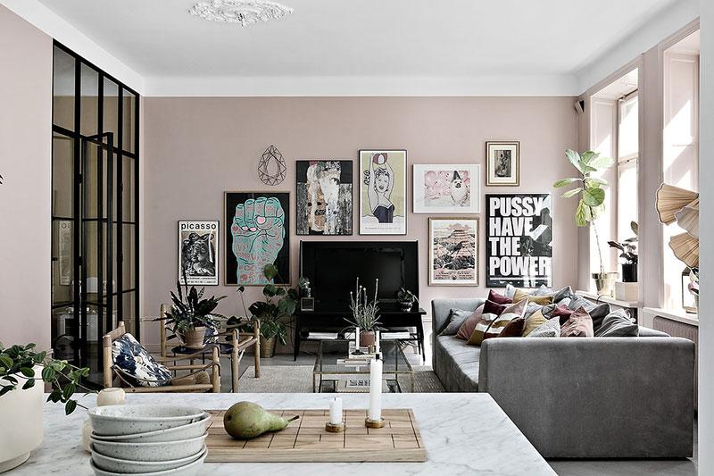 Скандинавская квартира с обилием интересного декора и красивых оттенков (83 кв. м)