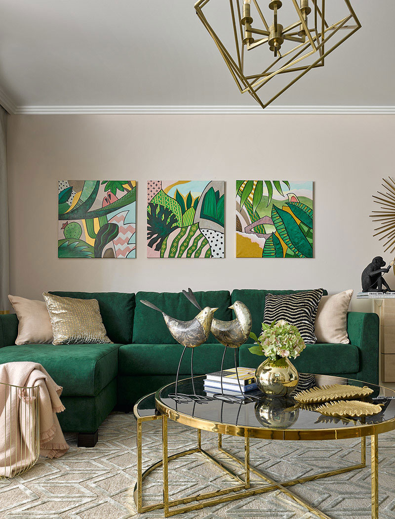 Designer Elena Markina With The Help Of Paintings Colors And Slightly Glamorous Decor Could Create Real Tropics In A Modern Urban Dwelling