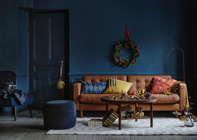 wonderful christmas interiors in dark blue by ikea photos rh pufikhomes com