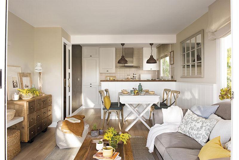 Как в загородном доме: уютный и душевный дизайн квартиры площадью 60 кв. м (с планировкой)