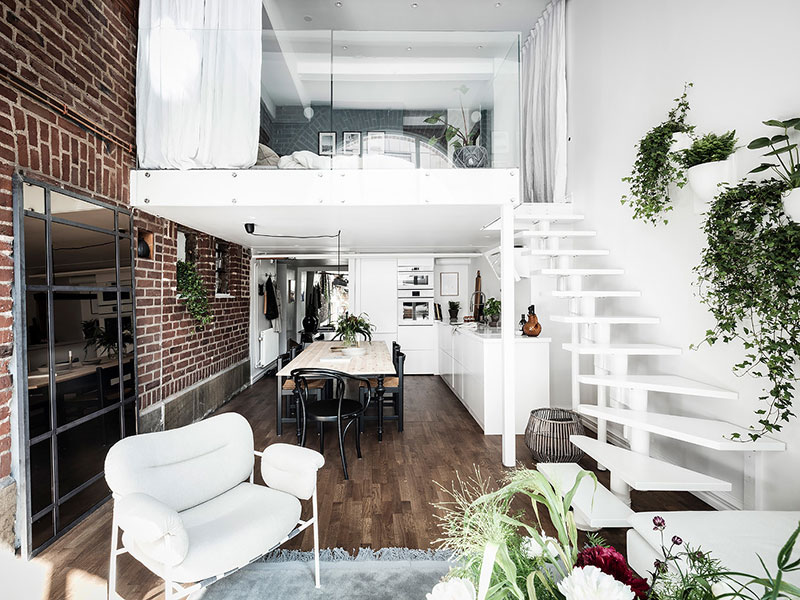 loftas Ground-floor-apartment-with-brick-wall-pufikhomes-5