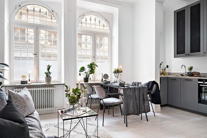 Elegant Monochrome Studio Apartment In Sweden 30 Sqm Foto Idei Dizajn