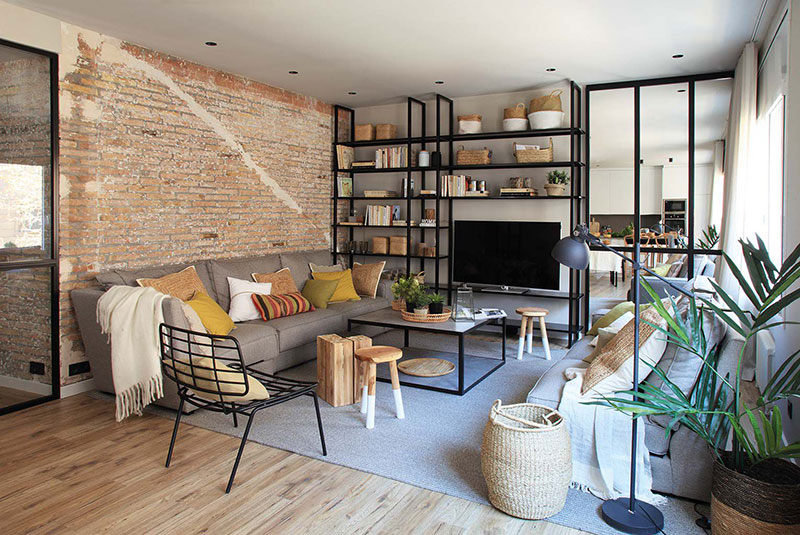 Приятная квартира с элементами индустриального стиля в Барселоне   barcelona apartment industrial style pufikhomes 3