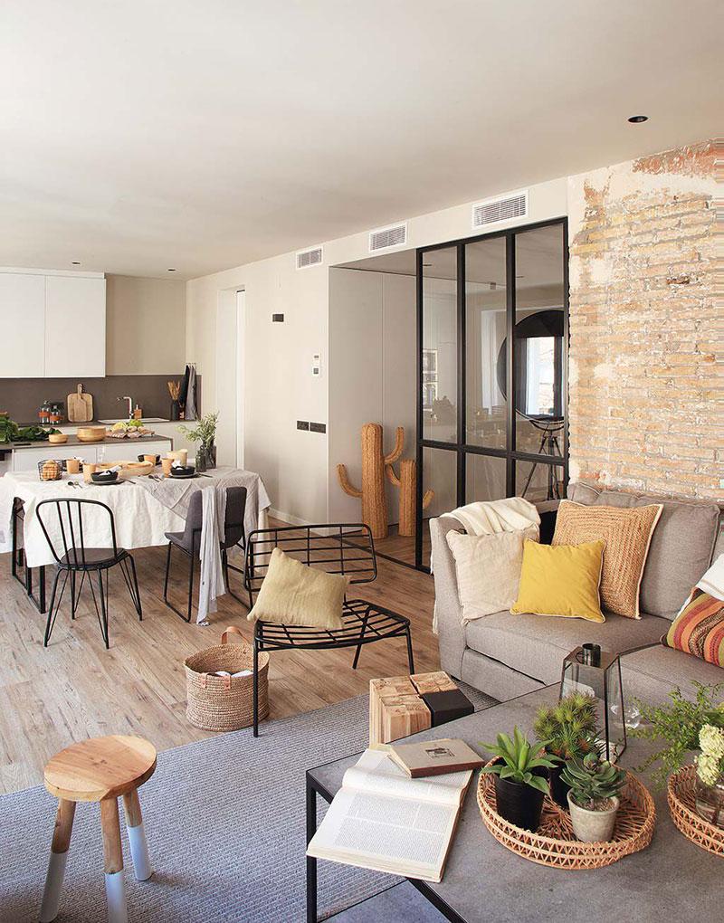 Приятная квартира с элементами индустриального стиля в Барселоне   barcelona apartment industrial style pufikhomes 5