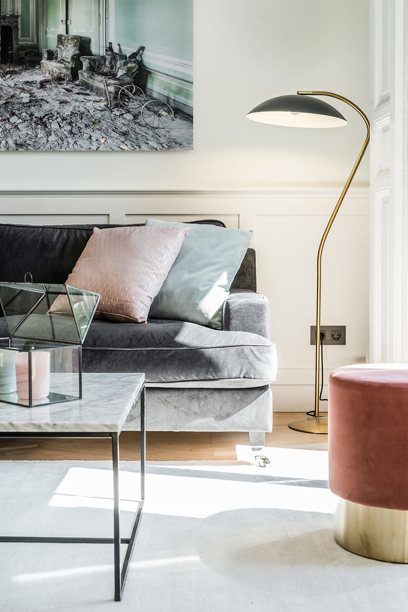 White color velvet upholstered furniture pastel shades this is a very charming and elegant design in the spirit of modern trends and with a nordic
