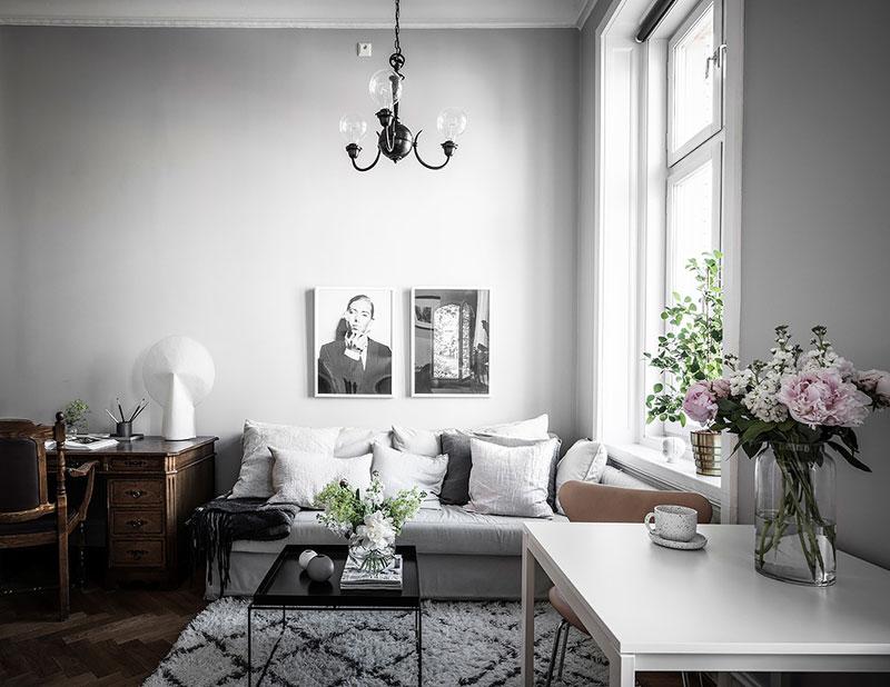 Tiny grey apartment with mezzanine bedroom in Sweden (26 sqm ...