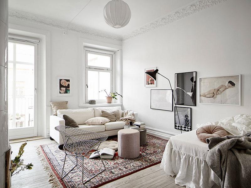 Нежный и воздушный интерьер маленькой квартиры для девушки (38 кв. м)
