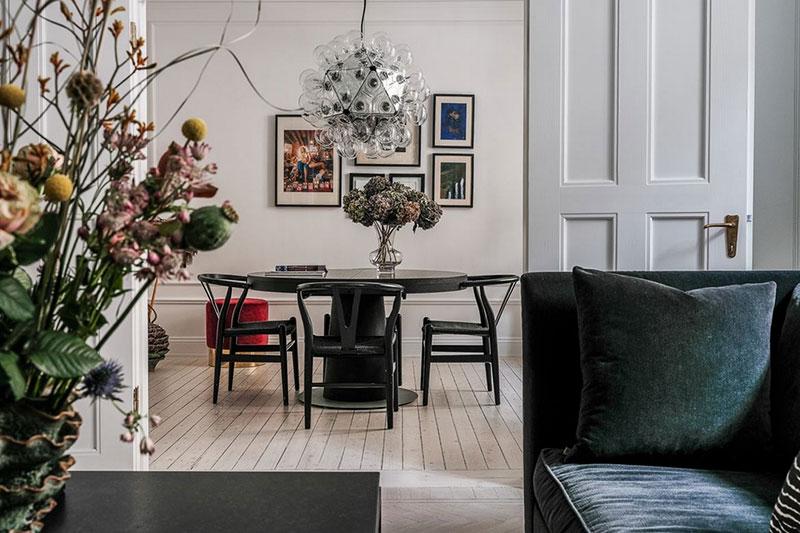 Экстравагантные детали в интерьере эелегантной квартиры в Швеции