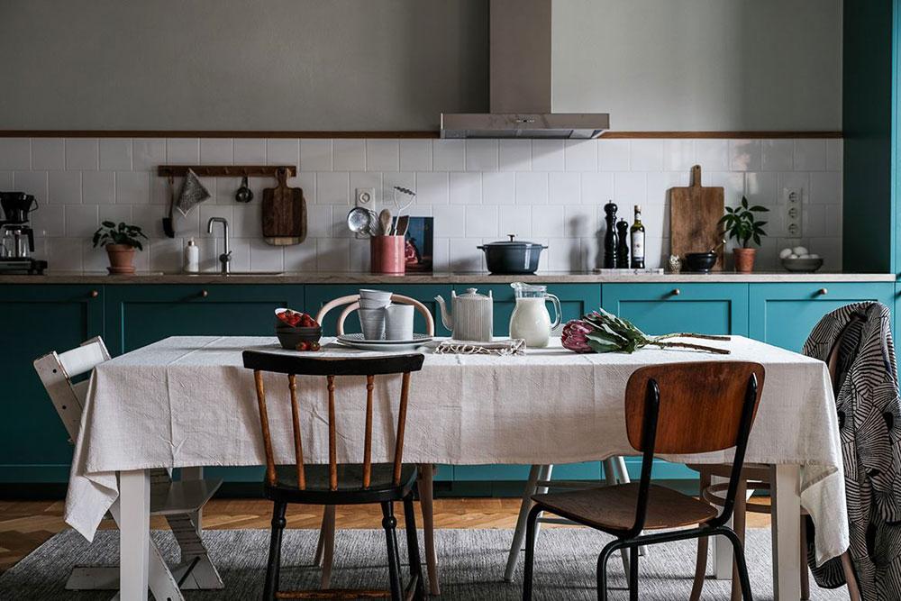 Необычная скандинавская квартира в зеленых тонах