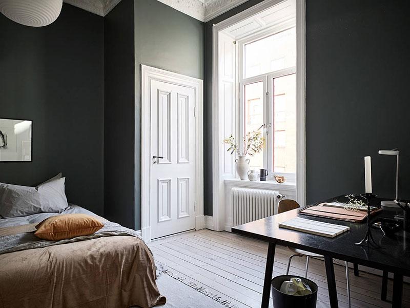 темная мебель в скандинавском интерьере