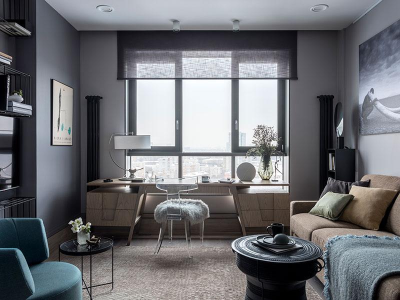 дизайн квартиры в темных тонах