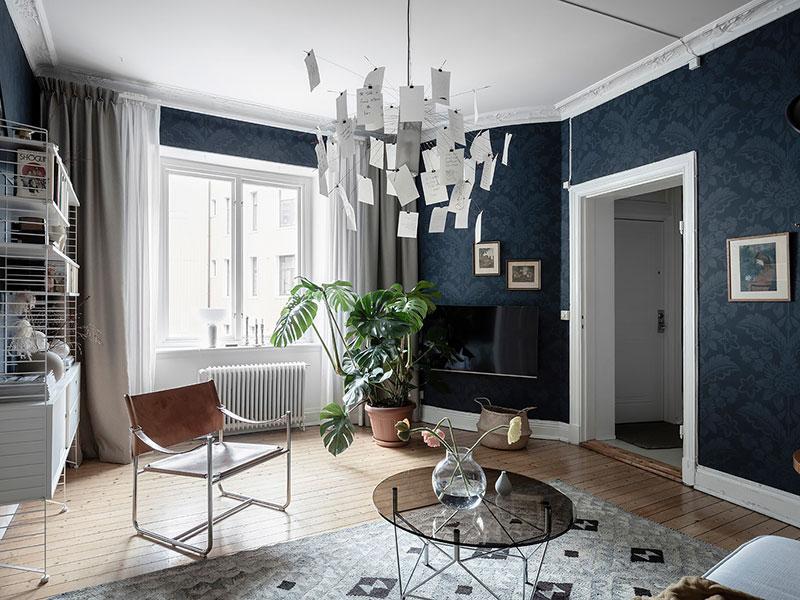 дизайн квартиры с темными обоями