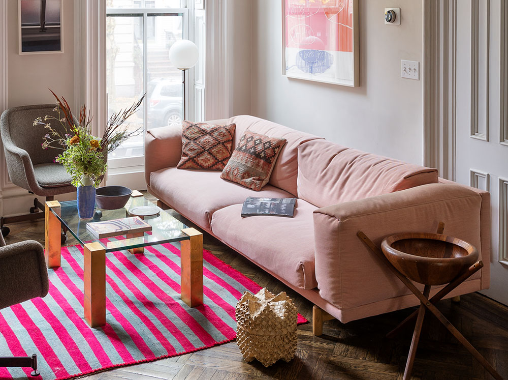 The perky and colorful interior of a