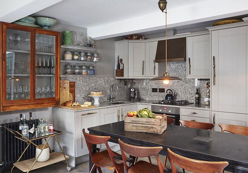 монохромный интерьер кухни