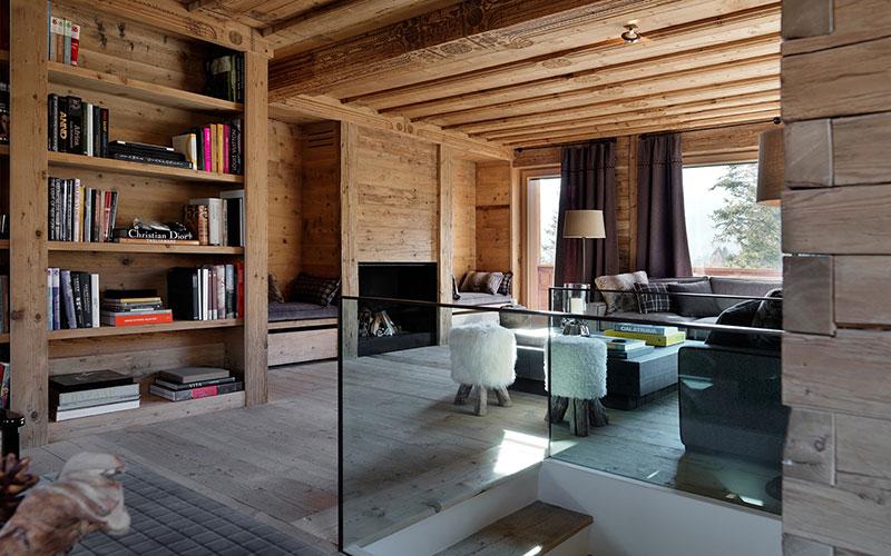 интерьер загородного дома в стиле шале фото