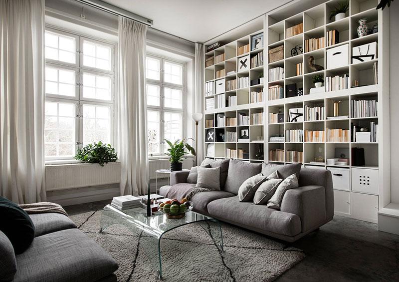 интерьер библиотеки в квартире