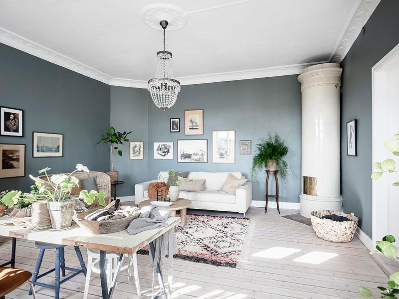 дизайн квартир голубые стены
