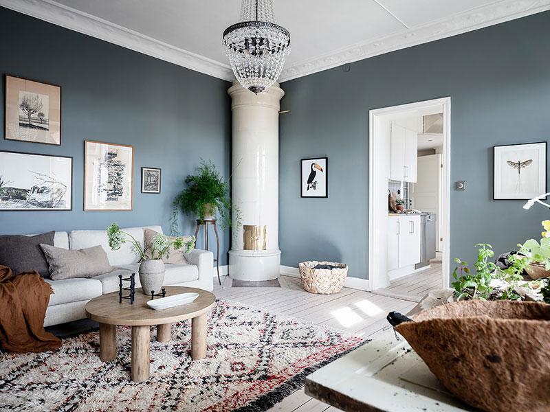 голубой цвет стен в квартире фото