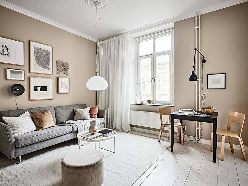 интерьер маленькой квартиры в скандинавском стиле