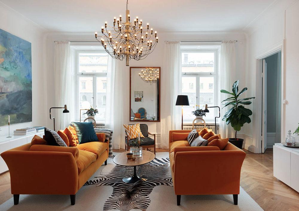 квартиры с оранжевым диваном