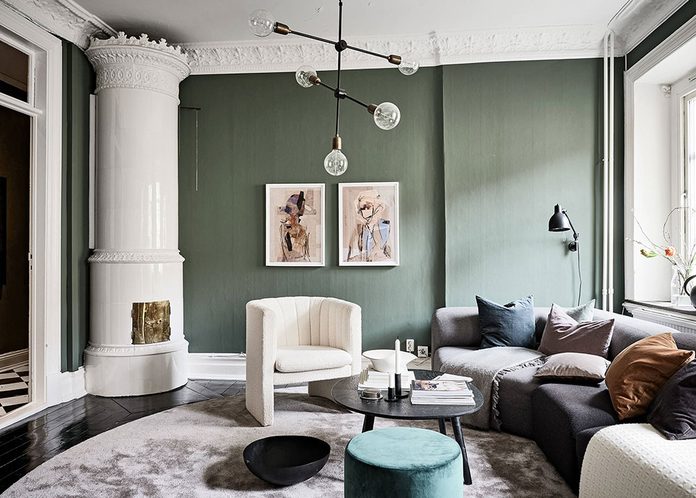 зеленый цвет в скандинавском интерьере