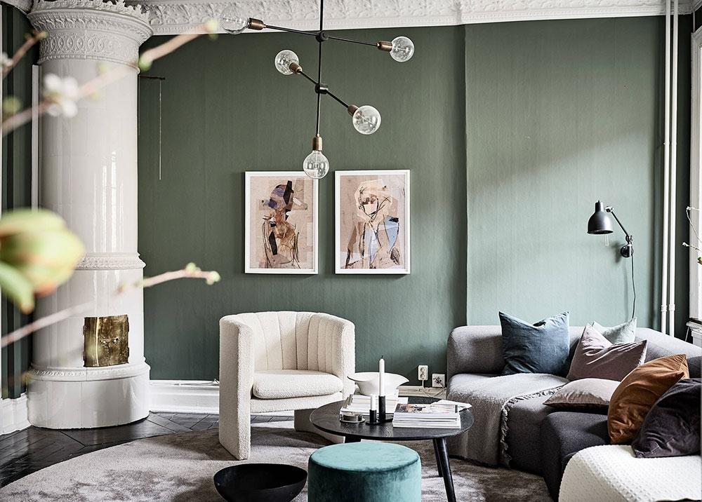 интерьер зала в зеленом цвете в квартире фото