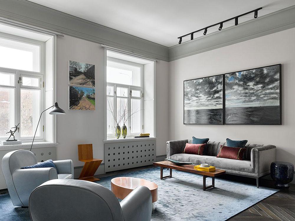 дизайн квартиры в серых тонах с яркими акцентами