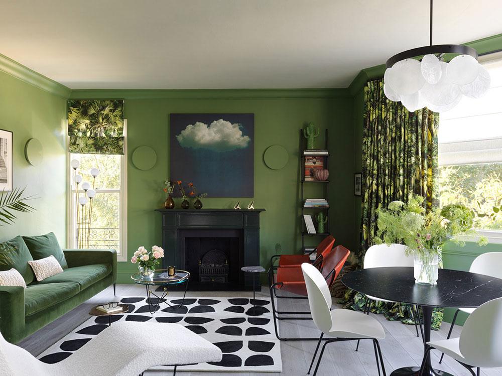интерьер квартиры в зеленых тонах
