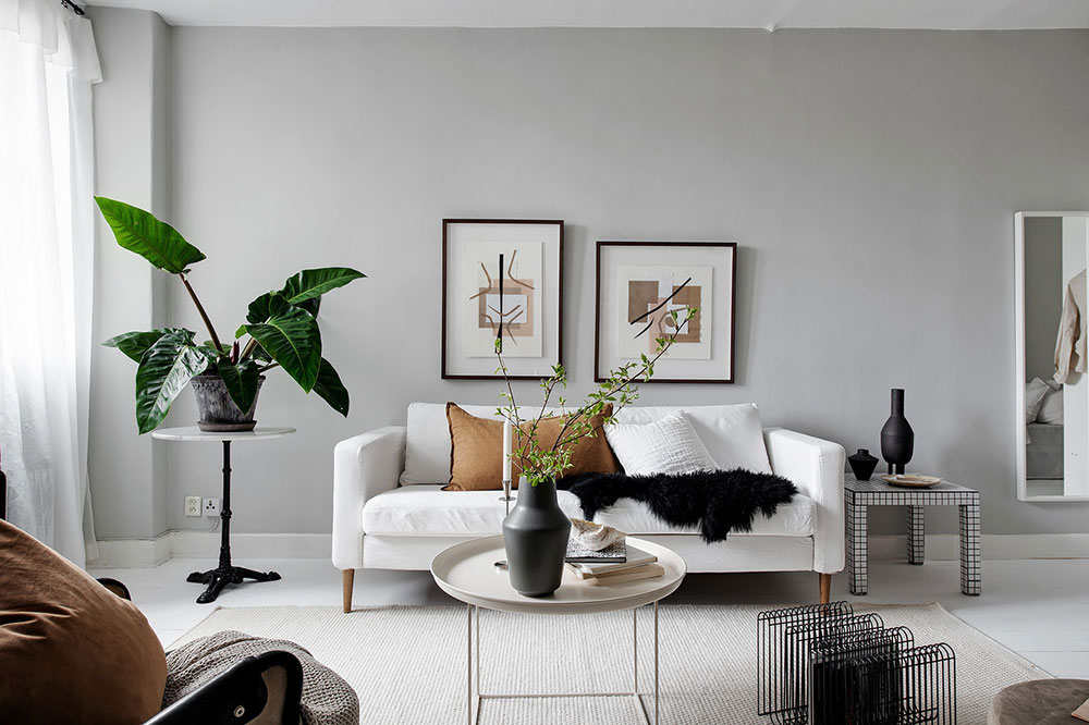 дизайн однокомнатной квартиры черно белый
