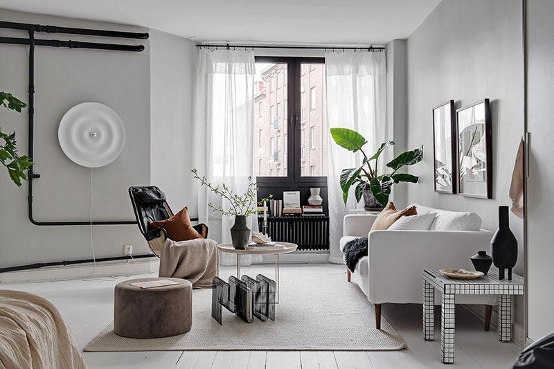 черно белый дизайн однокомнатной квартиры