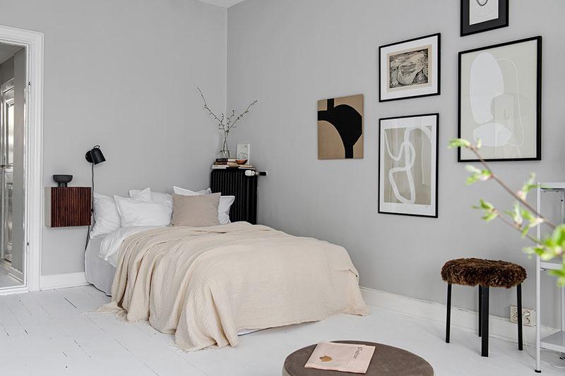 интерьер черно белый однокомнатной квартиры