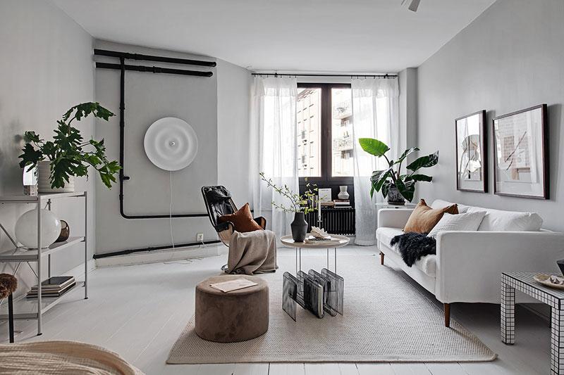 дизайн однокомнатной квартиры черный и белый