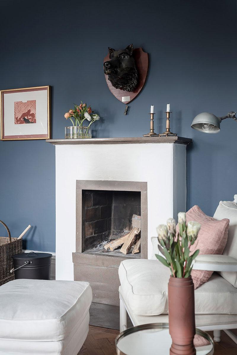 интерьеры квартир фото синие обои