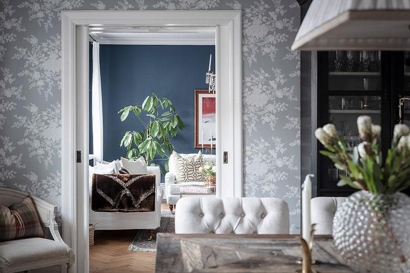 интерьер квартиры синие обои