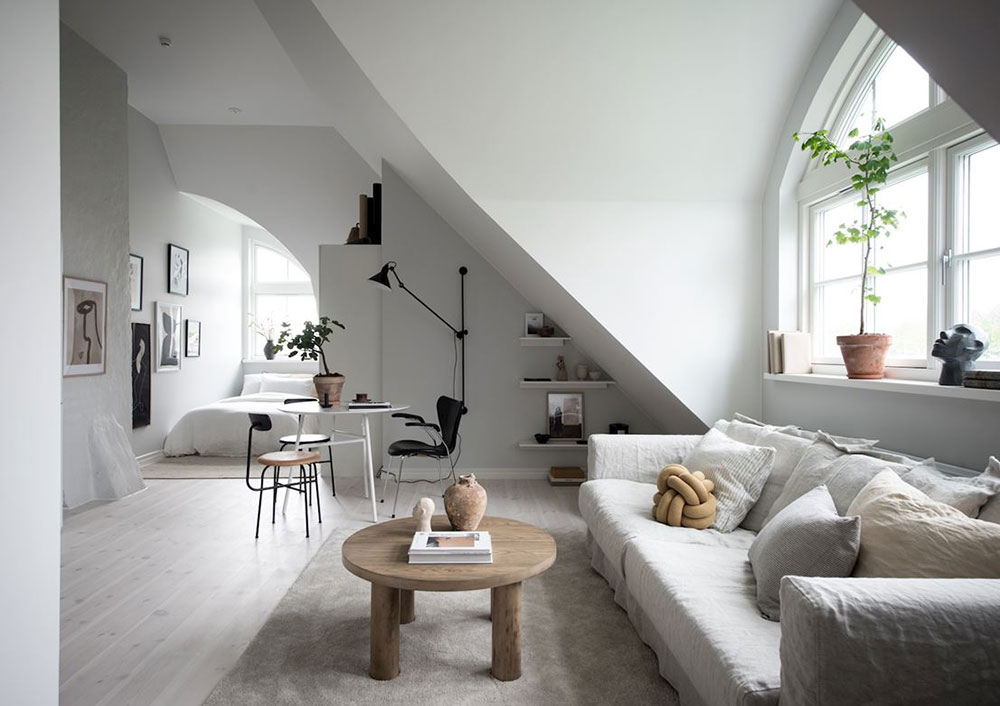 Small But Light Studio Apartment Under The Roof In Goteborg 35 Sqm Photos Ideas Design