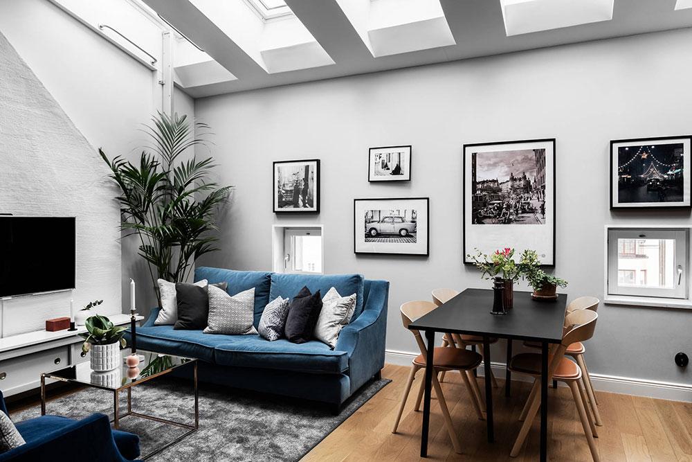 Tremendous Blue Sofa And Spiral Staircase Two Level Apartment In Inzonedesignstudio Interior Chair Design Inzonedesignstudiocom