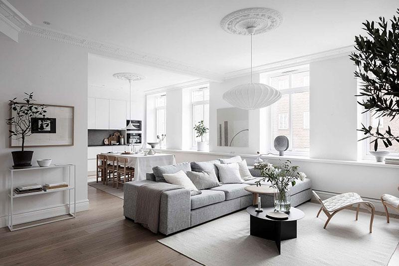 дизайн квартиры в бело сером цвете