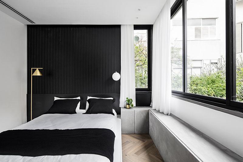 apartment interior black and white