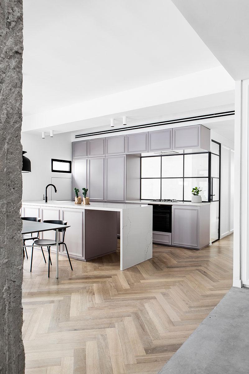 black and white apartment interior