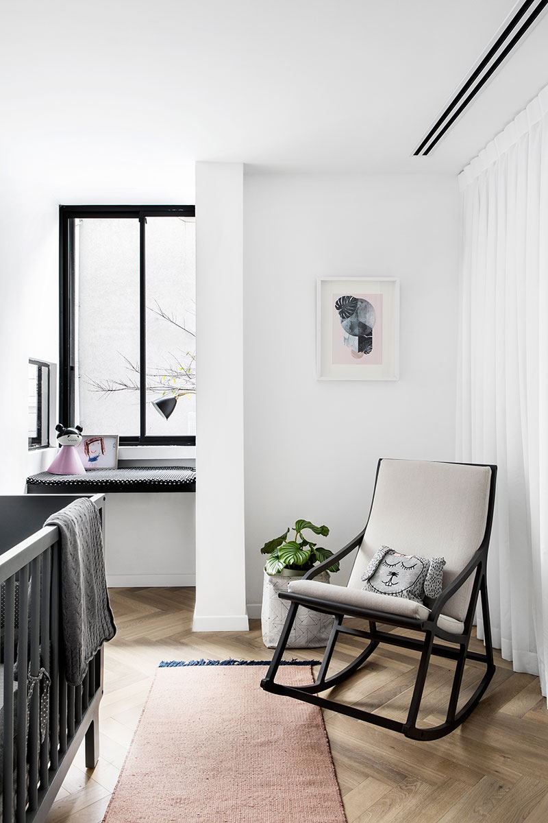 apartment interior in black and white