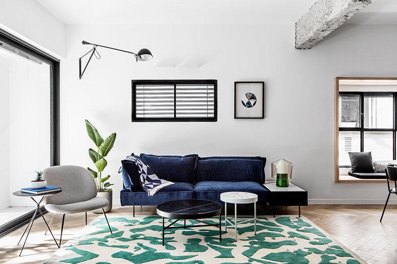 black and white apartment interiors