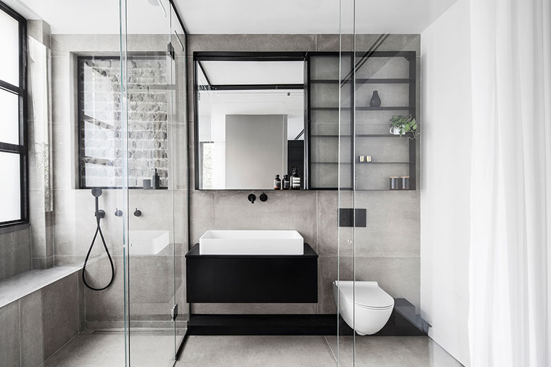 apartment interior in black and white style