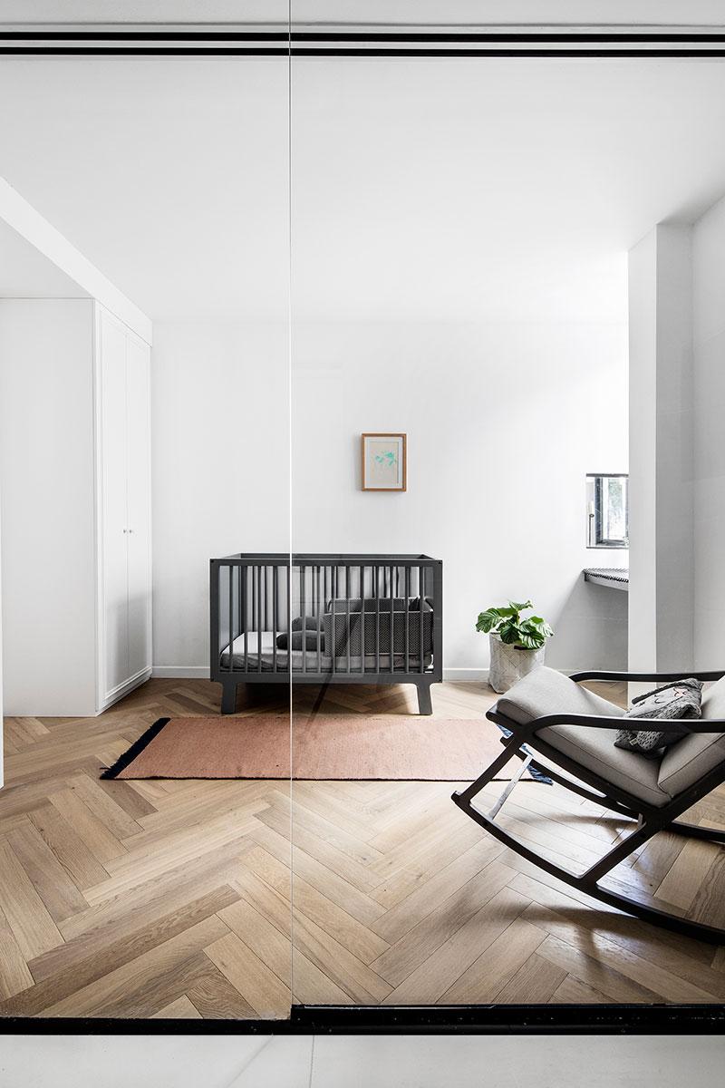 black and white apartment interior photo