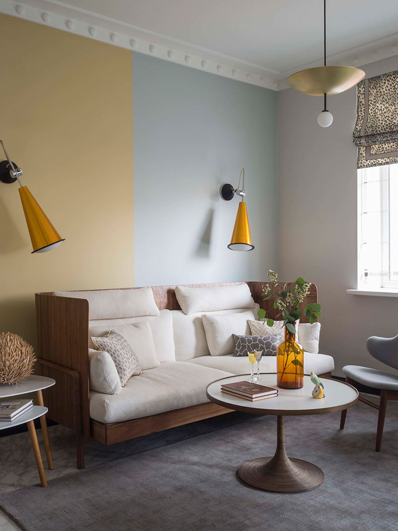 interiors of studio apartment in pastel colors